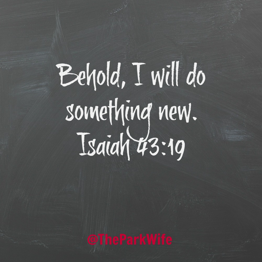 Behold, I will do something new. Isaiah 43:19